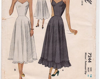 """1948 Princess Seam Full Long Slip, Petticoat Slip Vintage Sewing Pattern [McCall 7244] Size 14, Bust 32"""", Complete, Partially Cut"""