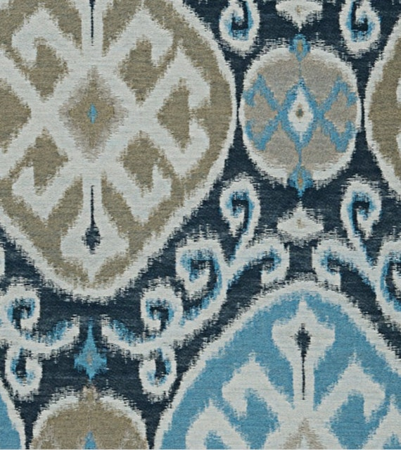 Navy Blue Aqua Ikat Upholstery Fabric Taupe Navy Blue