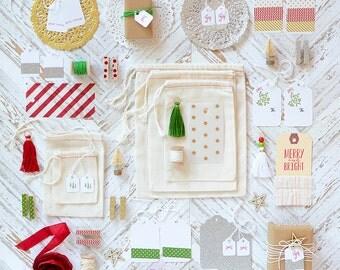 SALE Christmas Gift Wrap Kit Paper Kit Embellishment Kit Red Green Gold Silver Holiday Kit Gift Wrap Holiday Essentials Christmas Essentials