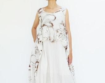 NO.213 Cream Cotton Gauze Sleeveless Tunic Dress, Floral Print Day Dress
