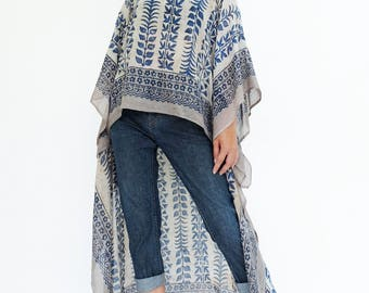 NO.134 Blue and Beige Cotton Hand Printed Scarf Kaftan Top