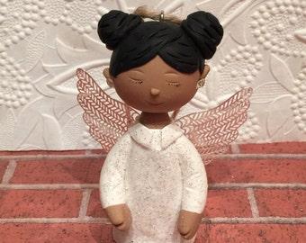 Christmas Angel,Custom Angel ornament,polymer clay ornaments,African American Angel,handmade clay Angel