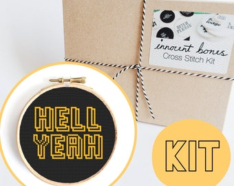 Hell Yeah Modern Cross Stitch Kit - easy chart design with guide rude offensive bad taste funny quote mature embroidery kit swear word