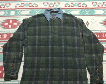 Vintage Over Sized Plaid Collared Long Sleeve Shirt