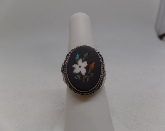 Gorgeous Vintage Sterling Silver Pietra Dura Ring