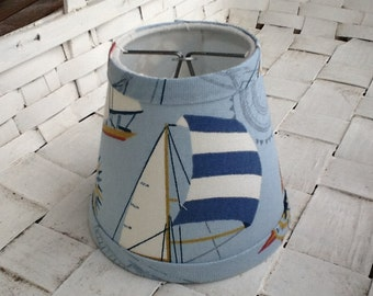 Nautical sailing ships chandelier lampshade cream and blue and red cottage  lampshade