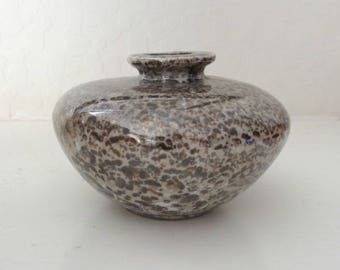 """Mottled Ceramic Artisan Vase, 3"""" Tall, Brown and Taupe"""