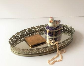 Vintage Filigree Mirror Vanity Tray, Small Oval Dresser Tray, Perfume Jewelry Make-up Organization Storage Tray, Gold Mirrored Tray