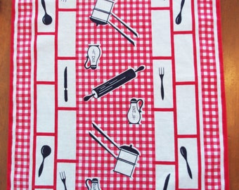 Vintage Printed Linen Kitchen Towel / Cloth/ Tea Towel: Red Black White Checks & Kitchen Goods