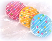 Candy Decorations Fake Wrapped Candies Props SET OF 3 Pink Blue Yellow