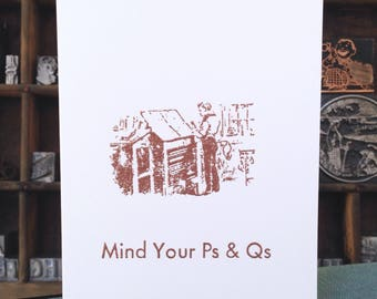 Mind your Ps and Qs, Typesetter, Copper, Handmade, Embossed Card, White, Folded Card, Envelope, Blank, Message Inside