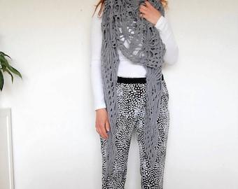 shawl, scarf, shrug crochet, grey