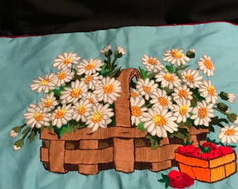 Vintage Crewel Embroidered Pillow Cover