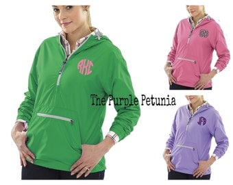 Rain Jacket Pullover Monogrammed - Windbreaker - Rain Coat - Womens Personalized - Monogram Gift - Personalized - Navy - Green - Pink Purple
