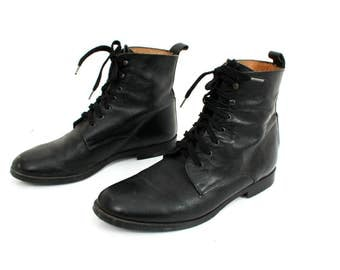 Vintage Studio Andre Black Leather Lace Up Ankle Boots Size 41