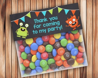 Monster Favor Bag Toppers, Chalkboard Birthday Party Ziptop Topper, Monster Treat Bag Topper  - INSTANT Download