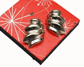 Large ribbed silver earrings - Puffy Hollow - Modernistic modern - Mexico Alcapa - Clip on Earring