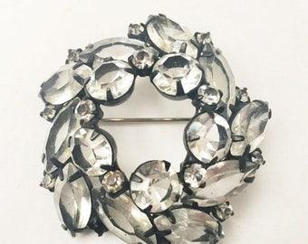 Clear Rhinestone Brooch - Black Japaned setting - Domed open back Crystal - Wreath Pin