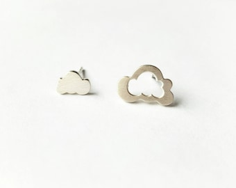 Asymmetrical Cloud shape silver studs, Flat sterling silver disc earrings, Unique and Simple Silver Jewelry, Handmade Jewelry