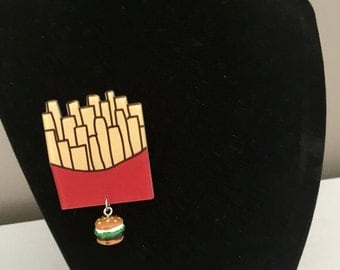 Burger and Fries Brooch
