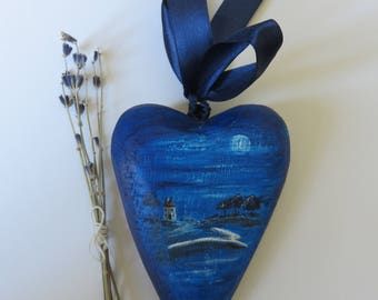 Leaping Hare Folk Art painted wooden heart home decor