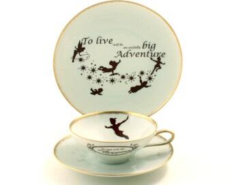 Peter Pan Tea Altered Cup Plate Live Adventure Vintage Porcelain J. M. Barrie Gold Rim Brown White