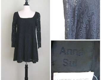 Vintage 1990's Anna Sui Black Lace Babydoll Dress