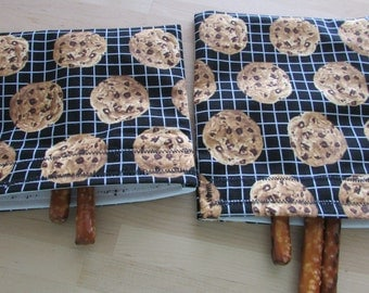 Reusable snack and sandwich bags in chocolate chip fabric
