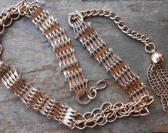 Vintage 1970's Gold Tone Chain Link Tassel Wrap Around Belt