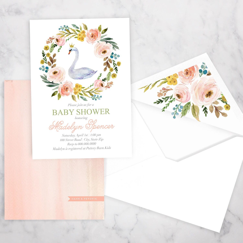 Swan Princess Baby Shower Invitation, Little Princess Baby Shower ...