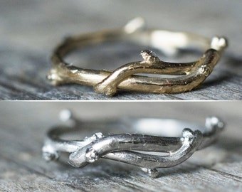 Twig Ring Yellow Gold, Rose Gold, White Gold or Sterling Silver Wedding Band Ring For Men - Male Wedding Ring - Natural Twig Bark Tree