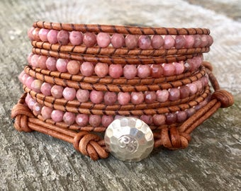 pink rhodonite leather bracelet sterling silver om button for heart chakra women girls faceted