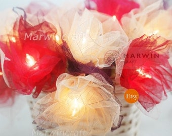 Battery or Plug 20 Red White Carnation Flower Fairy STRING LIGHTS Floral Party Patio Wedding Garland Gift Home Living Bedroom Holiday Decor