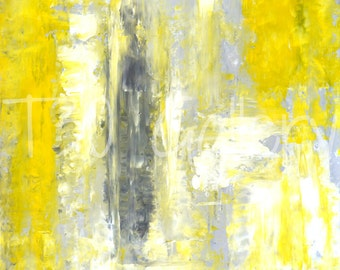 Digital Download - Change of Mind, Grey and Yellow Abstract Artwork
