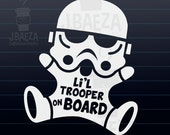 Baby Stormtrooper on board Decal car Sticker Star Wars Funny Toddler Child Infant White Vinyl