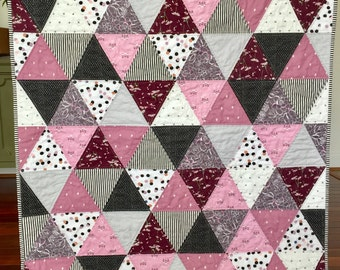 Modern Triangle Baby Toddler Girl Patchwork Quilt  Pink Mauve White Black floral dots stripes valentine day