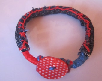 Denim jean Fabric Button Bracelet
