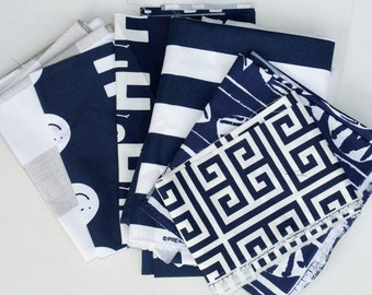 Fabric Scraps Bundle, Navy Blue Ecru Taupe White, Anderson, Ele, Cabana, Canopy, Oars, Caicos, Towers,Home Decor Premier Prints REMNANT CUTS