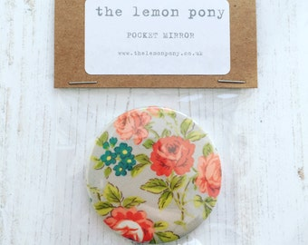 Handmade Floral Fabric Backed Pocket Mirror Compact 5.5cm diameter Stocking Filler