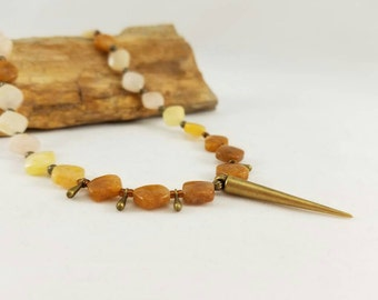 Agate gemstone bronze  necklace, yellow agate, orange agate necklace, fall jewelry, boho necklace, orange jewelry