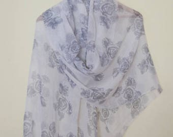 Spring Scarf, Light grey scarf with grey flowers, Lightweight and very soft,Women,  Lightweight Scarf, Gift Ideas for Her