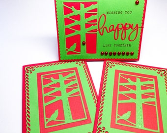 Set of 3 handmade bird cards - bright red and green - wedding card - congratulations - love birds - die cuts - Wcards