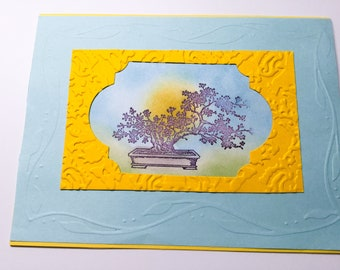 Embossed all ocassions card - Sunset - Japanese - You are a great friend - bonsai - oriental card - friendship cards - hand made cards