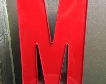 """16"""" Vintage Red Letter M Channel Letter"""