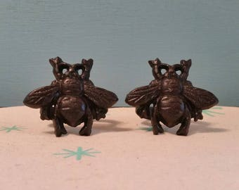 Six Cast Iron Bumble Bee Napkin Rings