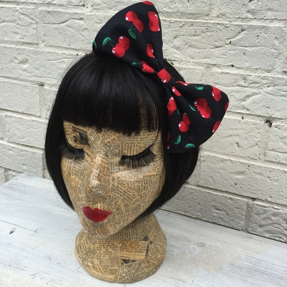 Cherry print large bow hair clip Rockabilly Pinup inspired