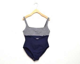 90s Nautical One Piece Bathing Suit Swimwear Women's 12 Medium Navy Blue Striped