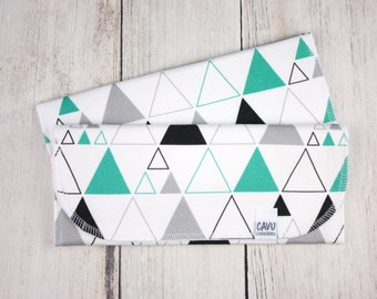 Set of 2 Organic Cotton Burp Cloths - Organic Baby Burpies in Triangles Print - Teal, Black, Gray, and White Designer Fabric - READY TO SHIP