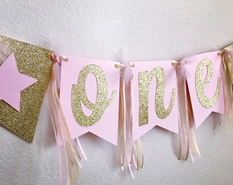 Pink & Gold High Chair Banner, ONE High Chair Banner, First Birthday Banner, Name High Chair Banner, First  Birthday Decorations