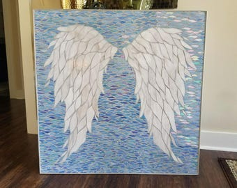 Angel Wing Mosaic, Stained Glass Angel Wings on Wood, Angel Art, Mosaic Wings